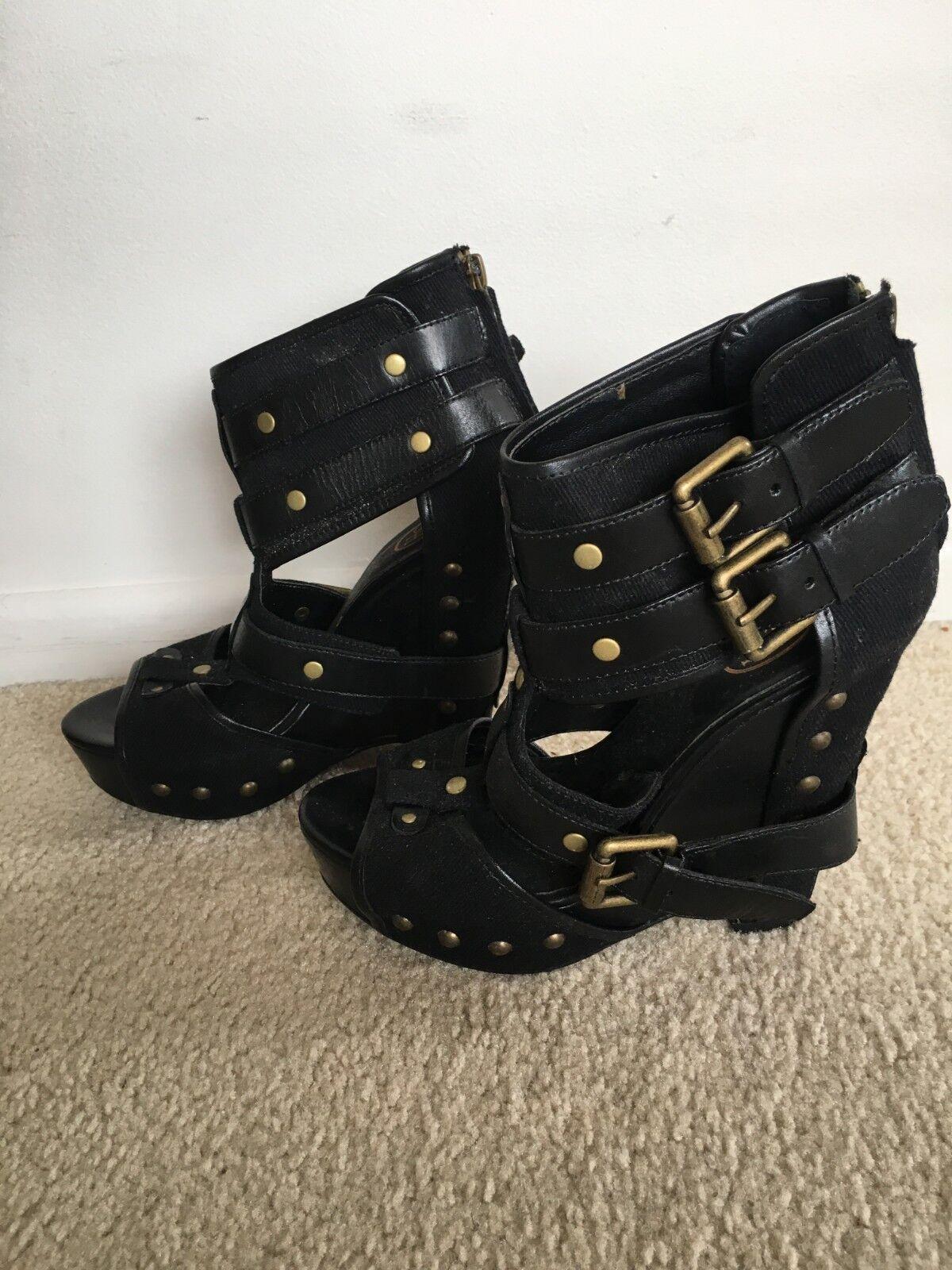 Zapatos De Fiesta Fresno Negro Tacón brazalete de tobillo Tamaño 37 Zapatos Moda Boho Mujer Con Tachas
