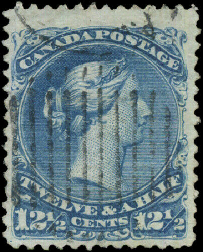 Canada #28 used VF 1868 Queen Victoria 12 1/2c blue Large Queen JUMBO CV$160.00