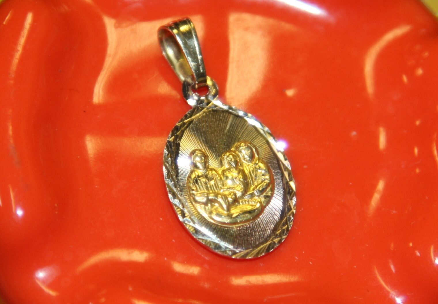 d482801b98c9d Christening BAPTISM Charm gold pink Yellow 14K solid Beautiful P1 ...