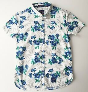 Superdry-Super-Miami-Short-Sleeve-Button-Hawaiian-Floral-Shirt-Mens-Size-L