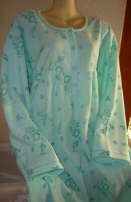 Damen Frottee Nachthemd innen warm angerauht super warm BLAU  M XXXL  40-54