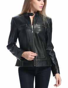 Outerwear Slim Biker S Leather Women Fit Black Lambskin Motorcycle 213 Jacket wnqTInx4C