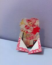 Vtg Valentine Card Redhead Pretty Little Girl Scooter Two on One Cuter 20's