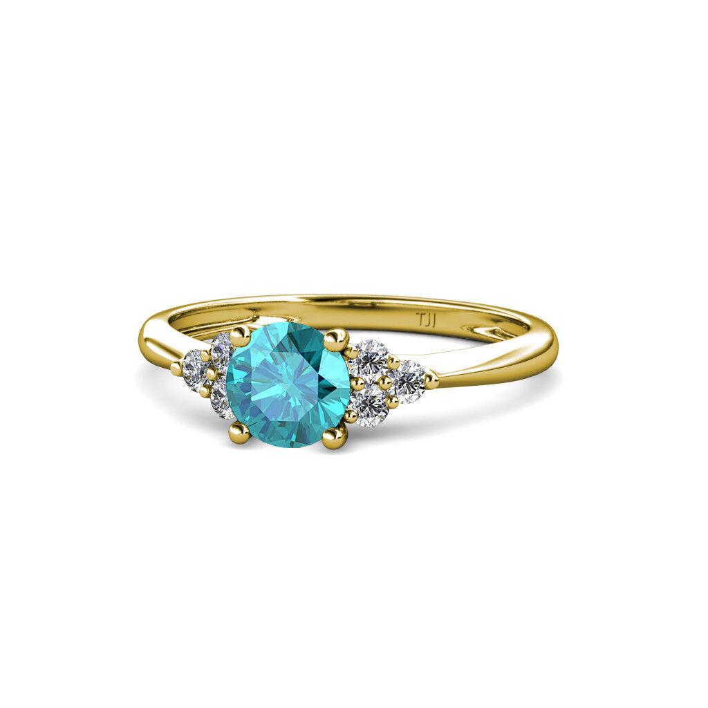 London bluee Topaz Diamond 7 Stone Engagement Ring in 14K Yellow gold JP 113696