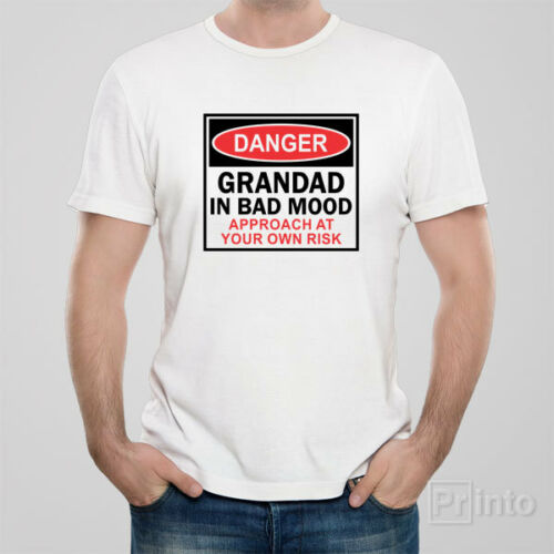 Funny T-shirt DANGER GRANDAD IN BAD MOOD great gift idea hovelty grandfather