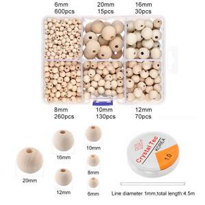 A7-1105-Stueck-Holzperlen-Set-Holz-Spacer-Perlen-Kette-Armband-Halskette-DIY