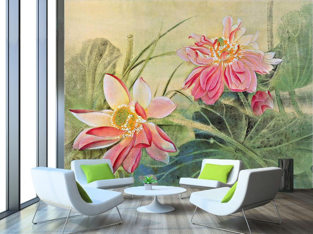 3D Lotus Flowers 896 WallPaper Murals Wall Print Decal Wall Deco AJ WALLPAPER