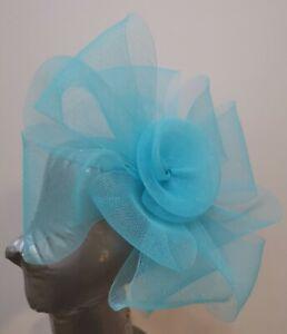 turquoise feather fascinator millinery burlesque headband wedding hat hair