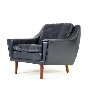 Retro Vintage Danish Rosewood Leather Easy Chair Lounge Armchair Modern 60s 70s