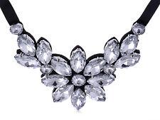 Women's Black Satin White Crystal Rhinestone Flower Petal Bib Necklace Pendant