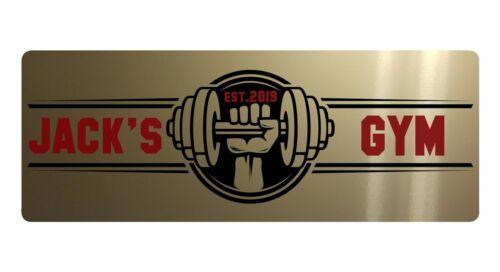 Gimnasio personalizado nombre y est año Aluminio Metal Sign Placa Puerta Fitness 20x7.5