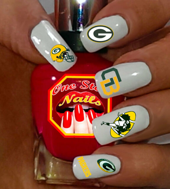 62pcs Green Bay Packers Nail Art Decals Stickers Transfers Pgb001 62