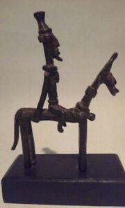 Ancien-Africain-Dogon-Bronze-Cheval-Et-Rider