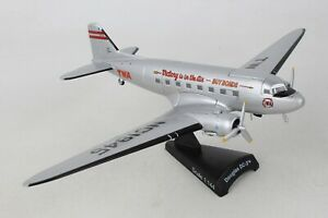 PS5559-4-POSTAGE-STAMP-TWA-DOUGLAS-DC-3-1-144-DIE-CAST-MODEL-AIRPLANE