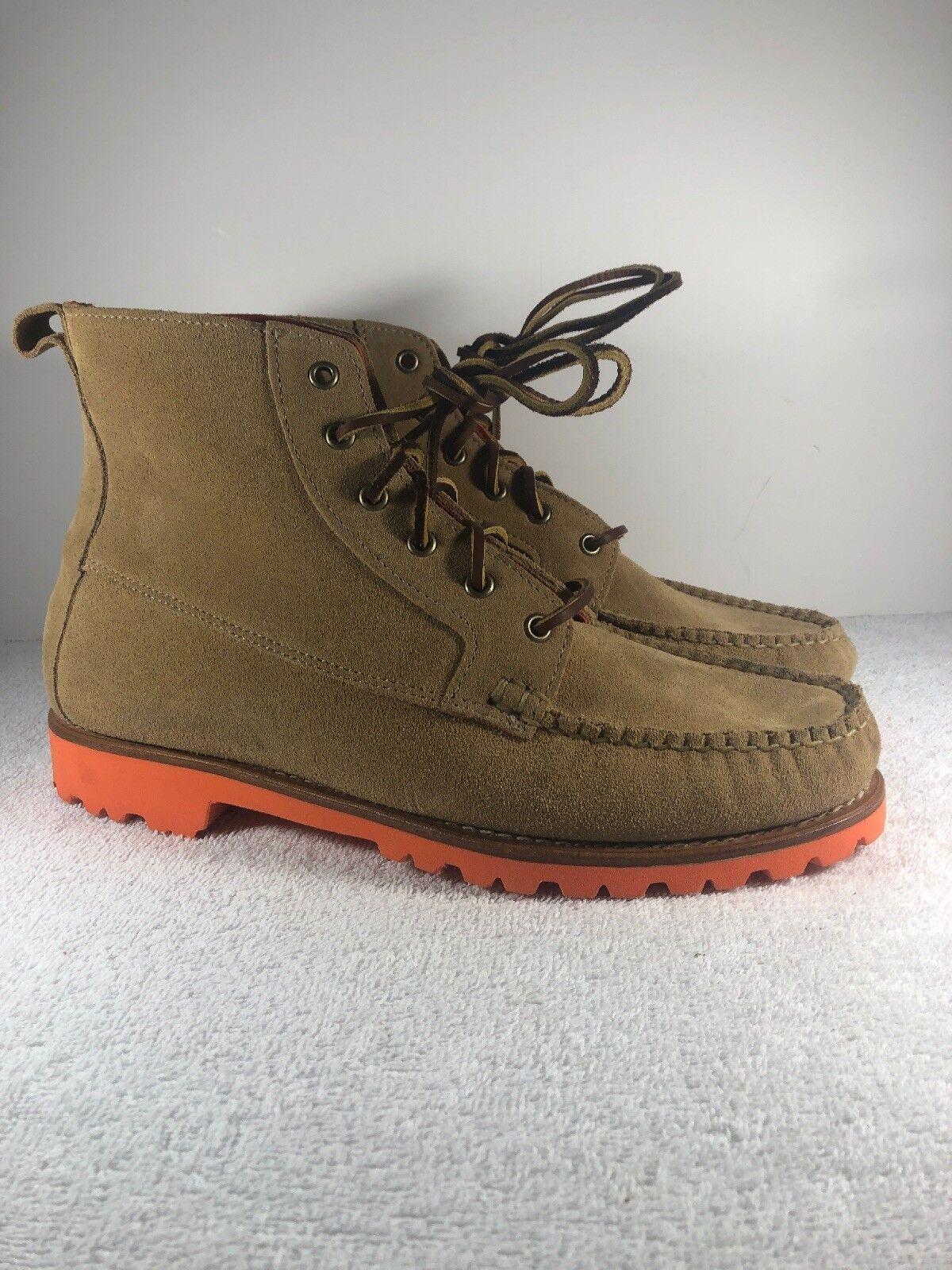 Ralph Lauren Suede Kahki Boots Mens SZ 11 Made In USA orange Vibram Soles