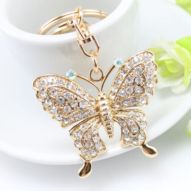New Crystal Butterfly Keychain Handbag Pendant Key Chain Charm Keyring  Keyfob CN f1eae65923d4