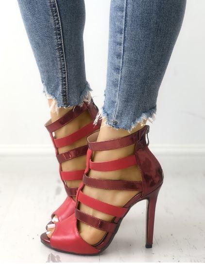 Sandali stiletto tronchetto rosso lucido 12 eleganti cm  simil pelle eleganti 12 1287 e5b668