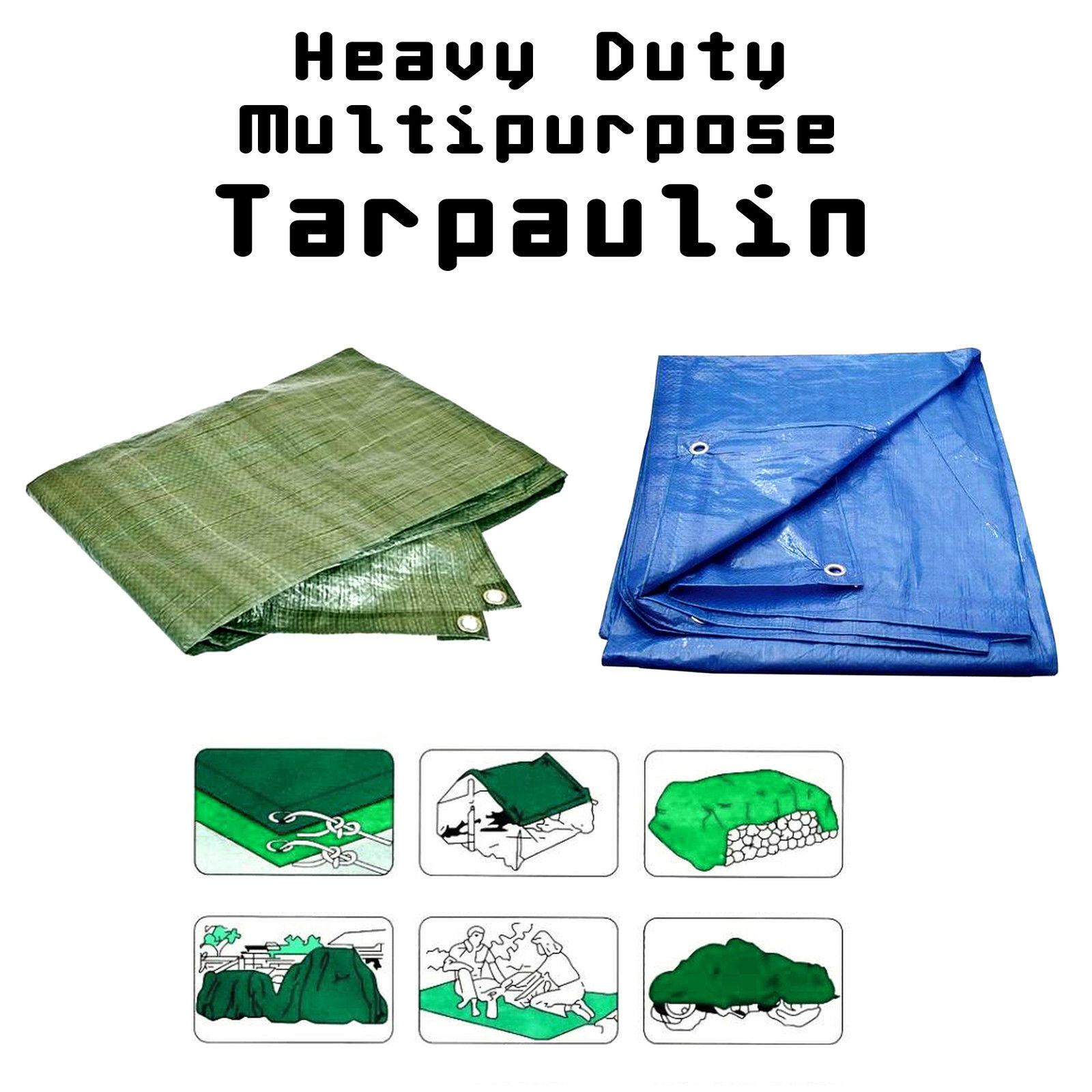 Heavy Duty Waterproof Tarpaulin Größes Strong Ground Sheet Cover Tarp - Choice of Größes Tarpaulin a981d5