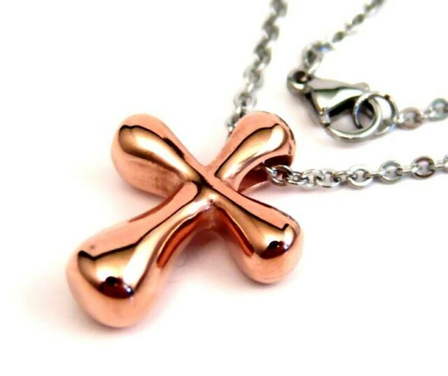 Rose Gold PVD Cross Necklace with Hypoallergenic Chain 22 in.