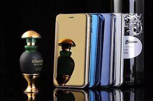 iPhone-5s-5-SE-Spiegel-Flip-Farbe-schwarz-Handy-Case-Tasche-Schutzhuelle-Cover