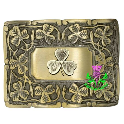 ST Men/'s Scottish Kilt Belt Buckle Irish Shamrock Antique Finish Celtic Buckles