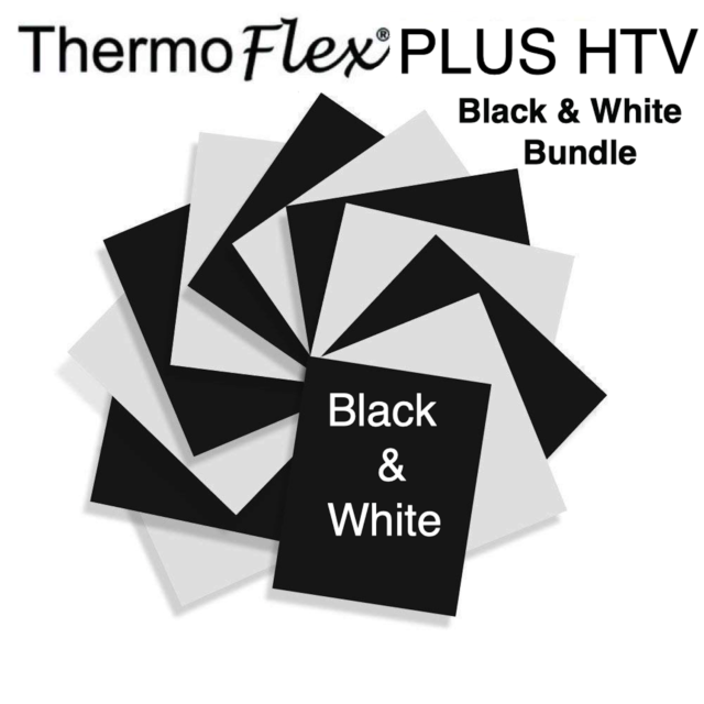 Ships Flat 8 Cricut for Silhouette Cameo Sheet Color Pack of Assorted Colors Guaranteed Size Iron On Vinyl T-Shirt Vinyl Craftables Heat Transfer Vinyl Black and White Bundle 12 x 9.8 -