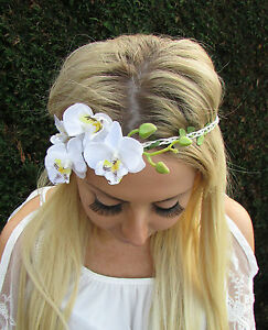 White orchid flower garland headband hair crown festival boho image is loading white orchid flower garland headband hair crown festival mightylinksfo