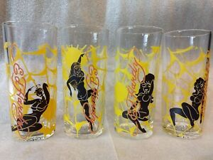 SET-of-4-Don-Ed-Hardy-Christian-Audigier-Spider-Web-Girl-Drinking-Glasses-RARE