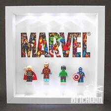 LEGO minifigure Superheroes Marvel Super Bright LED display Frame Case Gift Idea