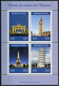 Modeste Tchad 2019 Neuf Sans Charnière Monuments Tour Eiffel Big Ben Porte De Brandebourg 4 V M/s Timbres