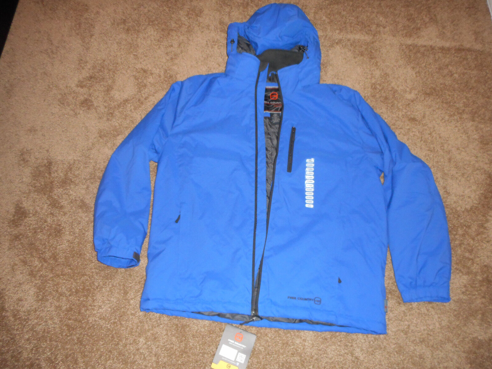 NWT Free Country Mens  Heavy Hooded Coats-100% Polyester-Multiple colors Sizes