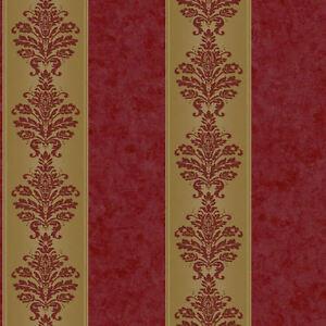 Stripe-Wallpaper-with-Mottled-Burgundy-and-Gold-Damask-RL9549