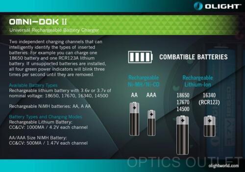 Olight OMNI-DOK II Universal Battery Charger for 18650 16340 17670 14500 AA AAA