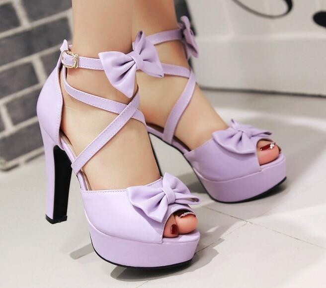 Sandali donna Plateau viola fiocco stiletto tacco 11.5 11.5 11.5 cm eleganti comodi 8632 0ea57a