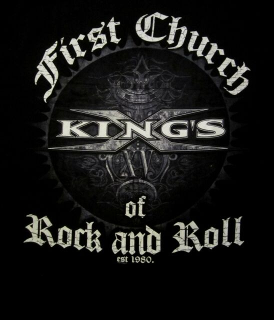 KINGS X cd lgo FIRST CHURCH OF ROCK AND ROLL Official SHIRT LRG New est. 1980