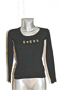 joli-pull-haut-noir-viscose-logo-metal-GUESS-taille-XS-EXCELLENT-ETAT