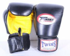 Twins Special Leather Boxing Gloves 14oz MMA Fitness Sparing Custom Black Yellow