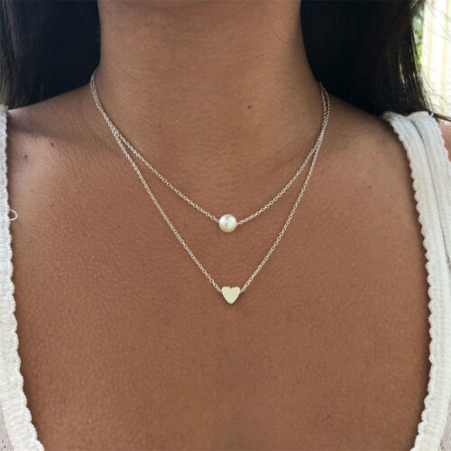Two Layer Heart Pearl Pendant Necklace For Women Choker Clavicular Chain Jewelry