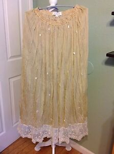 NWT-AMERICAN-GLAMOUR-by-BADGLEY-MISCHKA-Beige-Lined-Crunckle-Maxi-Skirt-Size-L
