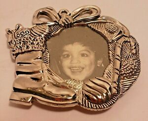 Vintage Gorham Silver Plate Christmas Ornament Wreath and Stocking Photo Frame