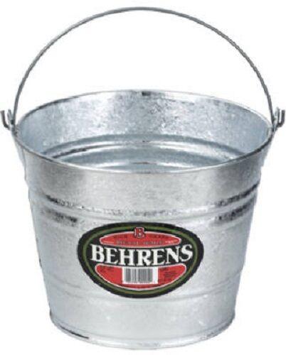 6 Behrens 1205 5 Quart Galvanized Steel Metal Water Pail Buckets w Handle