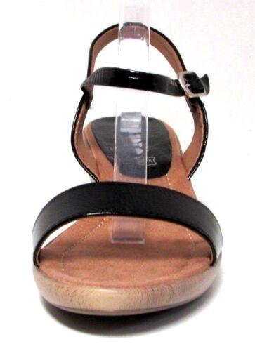Pazapa Noir Cuir Verni Sandales Talon Femme Neuf Plateau Boucle 41 Compensé 7qUPw8ax