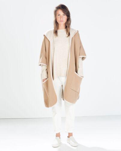 Camel Une Capuche Manteau Zara Rare Avec Taille Poncho New Et Capuche En À Beiige FgxwvTq
