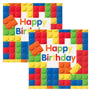 Block Party Supplies Tableware Decoration Bricks Lego Paper Napkins Pack of 16
