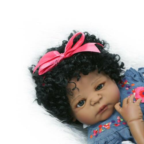 "23/"" Anatomically Correct Reborn Baby Dolls Girl African American Silicone Doll"