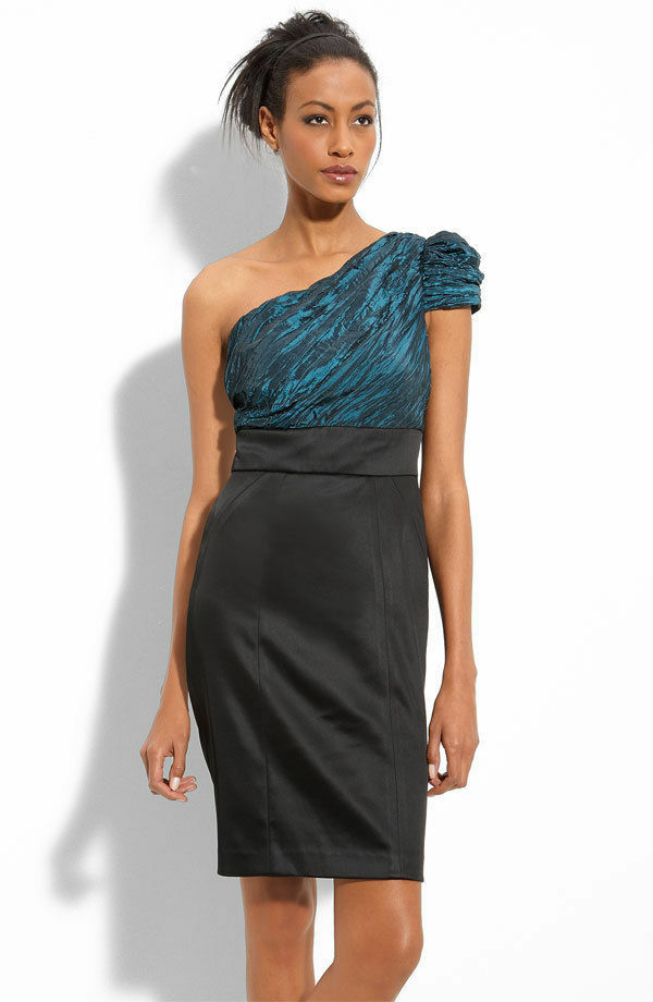 NWT Maggy London One Shoulder Satin & Taffeta Sheath Dress.SZ 16