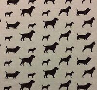 Designer Dog Party Silhouette Chocolate Brown Dachshund Fabric By Yard 54w