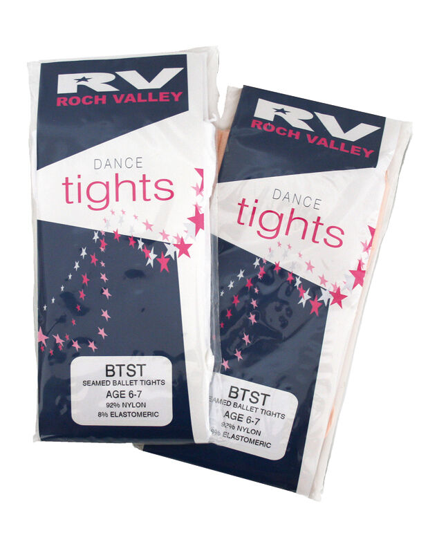 Girls pink or white ballet tights by Roch Valley sizes 1-2 to adult