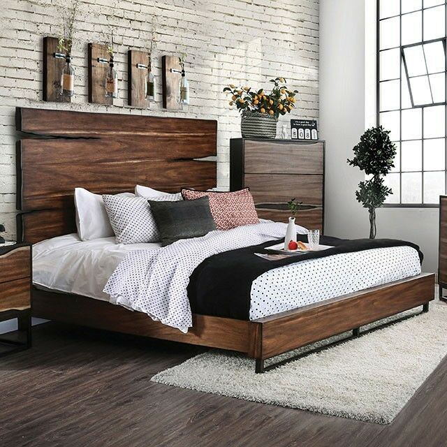 1pc Queen Size Bed Two Tone Design Rustic Style Furniture Walnut Finish Antique For Sale Online Ebay