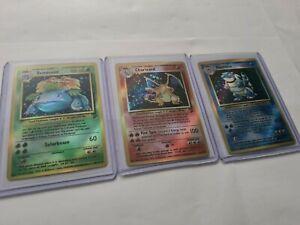 3x Pokemon Base Set Glurak, Turtok, BISAFLOR proxy Holo Card Near Mint